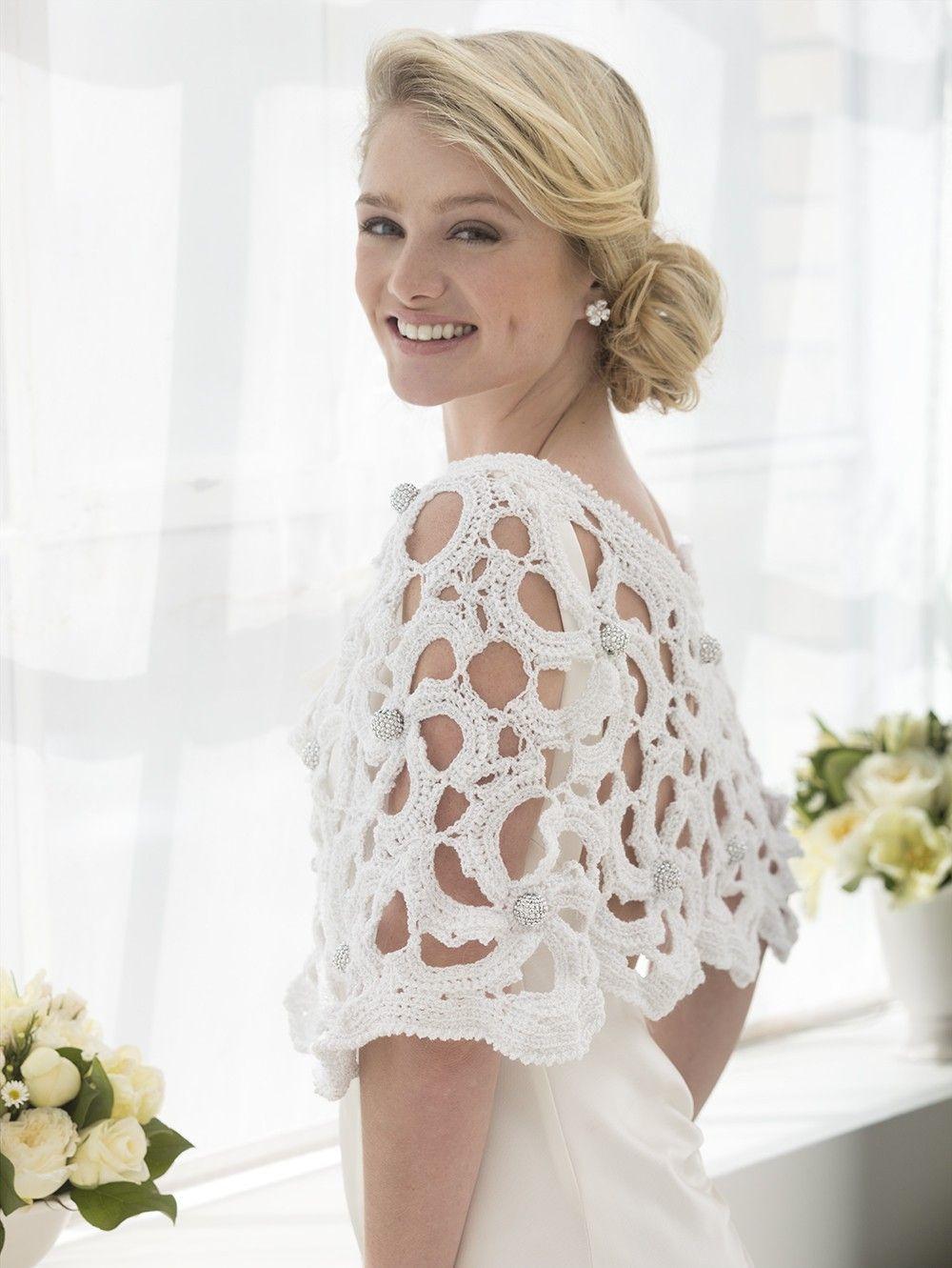 Wedding Capelet (Crochet) Lion Brand Yarn Crochet