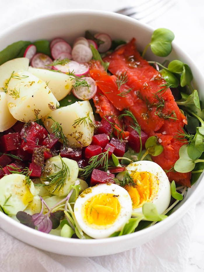 Nordic Salad With Smoked Salmon And Lemon Dill Dressing Recipe Nordic Recipe Healthy Salad Recipes Healthy Recipes