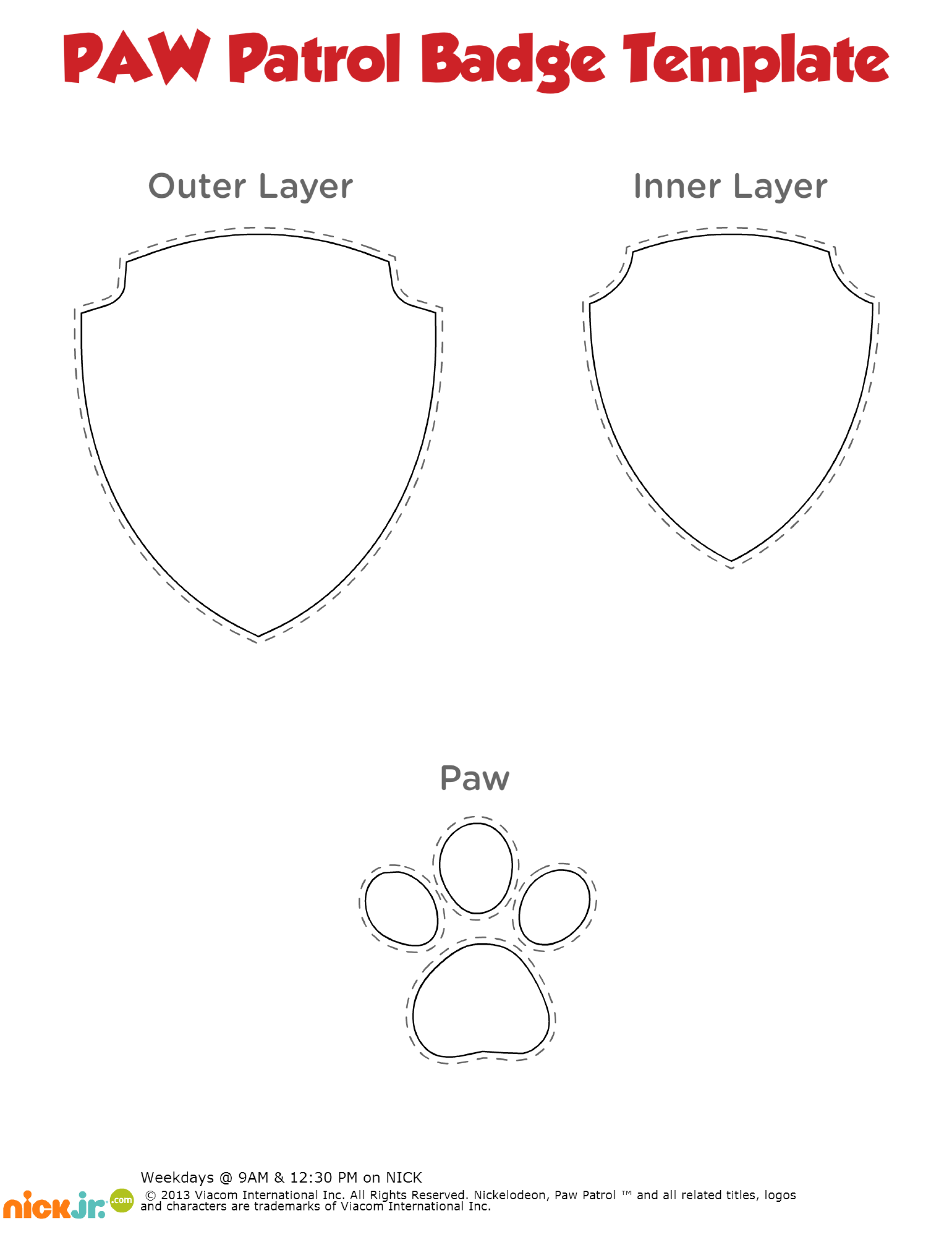 A Free Paw Patrol Badge Printable Template Use To Make One Out Of Red Blue And Yellow