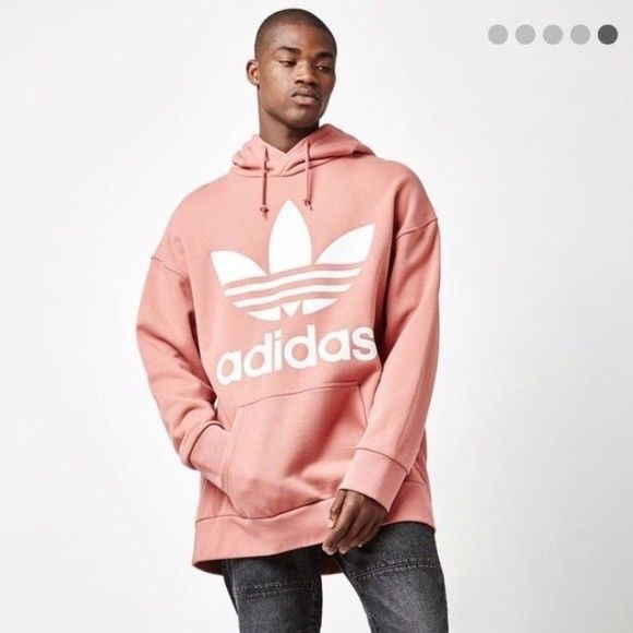 5d8c54317532 New Mens Adidas Pink Oversized Logo Long Sleeve Pullover ADC F Hoodie Size  Small  adidas  Hoodie