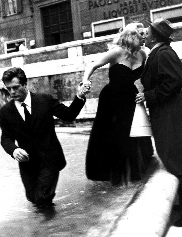 Marcello Mastroianni, Anita Ekberg and Federico Fellini on the set La Dolce  Vita