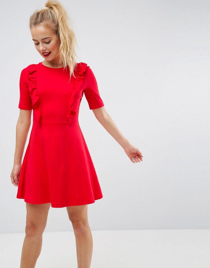asos - hängerkleid aus baumwolle mit rüschen - rot jetzt