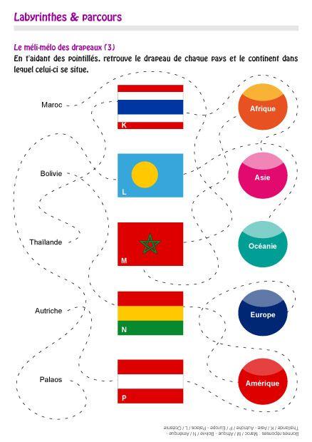 Jeux pour les enfants à imprimer : apprendre à reconaître les drapeaux des différents pays du monde