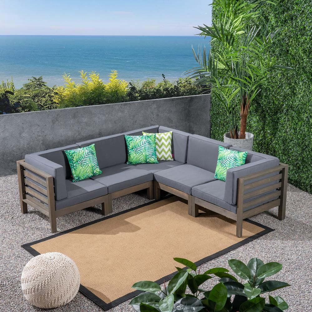 Noble House Jonah Gray 5 Piece Wood Outdoor Sectional With Dark