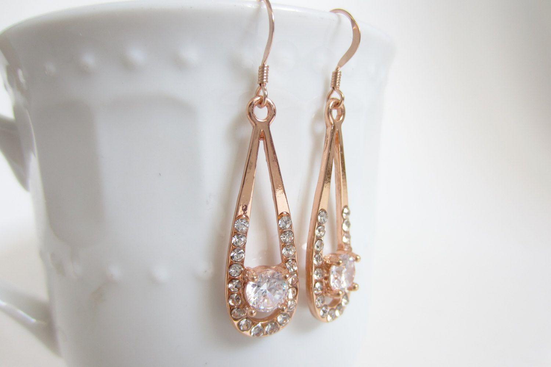 Rose Gold Filled Earrings, Bridal Earrings, Rhinestone Earrings, Rose Gold, Formal  Earrings