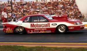 Bob Glidden S Bird Only The Man Would Think To Cover The Intake Manifold After Barrel Rolling Down The Track Drag Racing Cars Ford Racing Drag Racing
