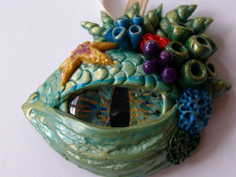 Polymer Clay Dragon Eye Pendant, Sea Dragon, Coral Reef by ... - photo#30