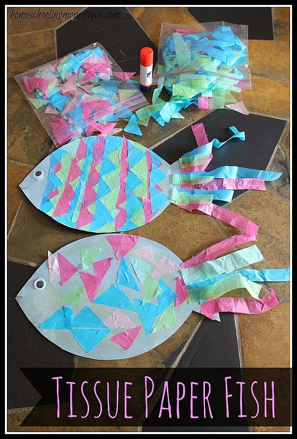 Kids Craft Construction Paper Fish With Tissue Scales