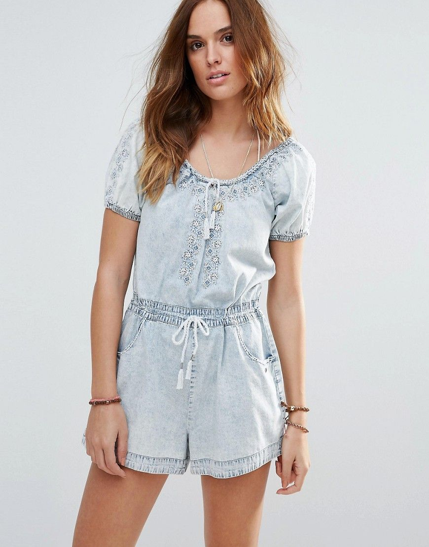 3e7026cef95 Get this RIPCURL s short jumpsuit now! Click for more details. Worldwide  shipping. Rip Curl Denim Beach Playsuit - Blue  Beach playsuit by Ripcurl