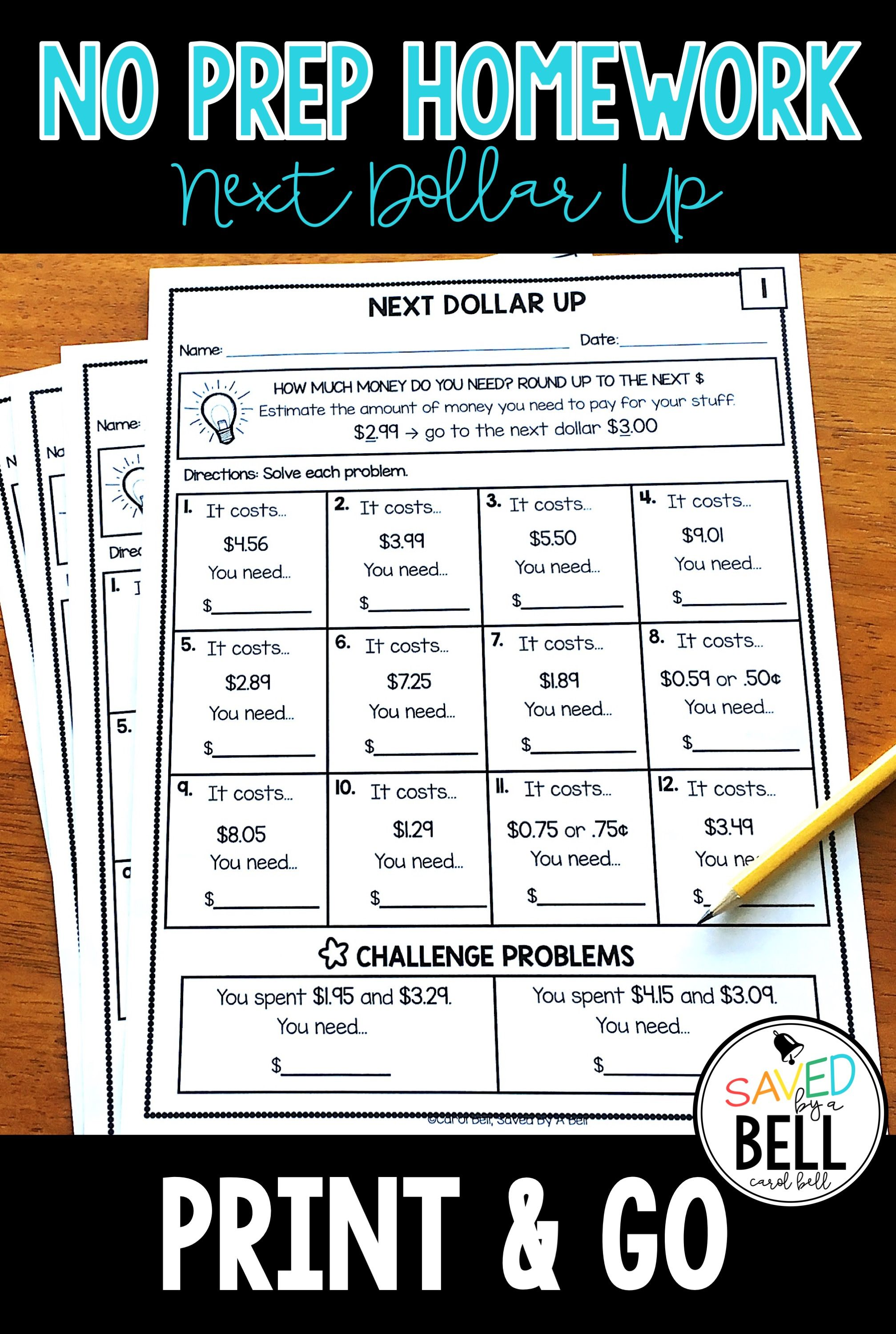 Next Dollar Up Worksheets Distance Learning