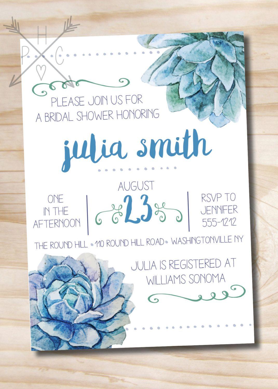 Watercolor Succulent Bridal Shower Invitation Printable Invitation