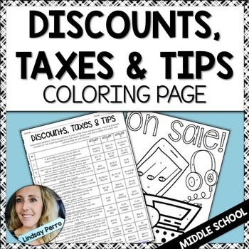 Percent Discount Taxes And Tips Coloring Worksheet Color Worksheets Color Activities Worksheets Sales tax worksheet 6th grade