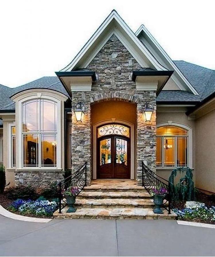 63 Wonderful Stone Brick House Exterior Ideas House Exterior House Design New Homes