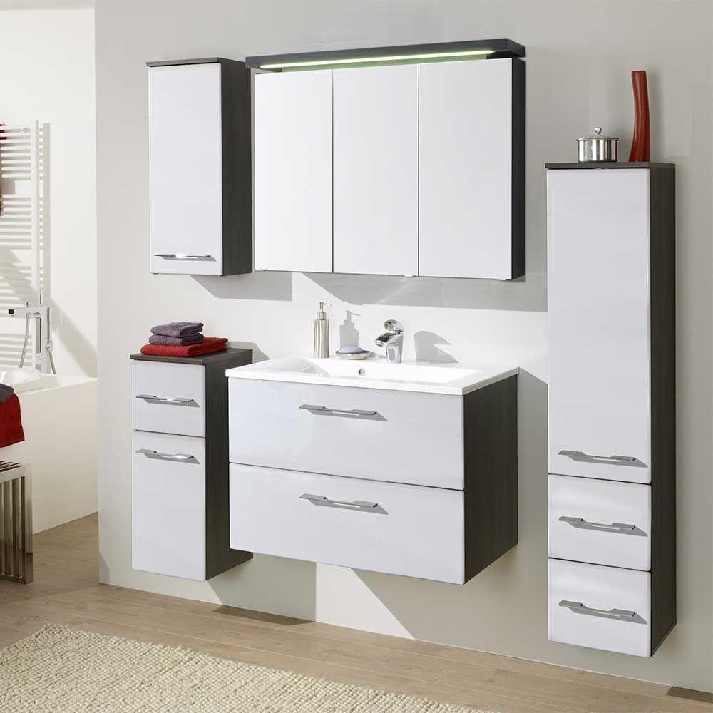 Badmöbel Komplettset in Hochglanz Weiß kaufen (5-teilig) Jetzt ...