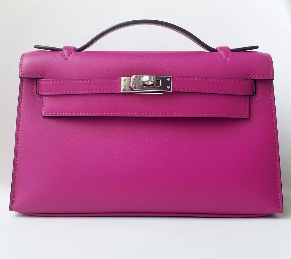 a9ce5e71ee59 NEW Hermes Kelly Pochette Mini Clutch Rose Pourpre PINK Purple Swift PHW bag
