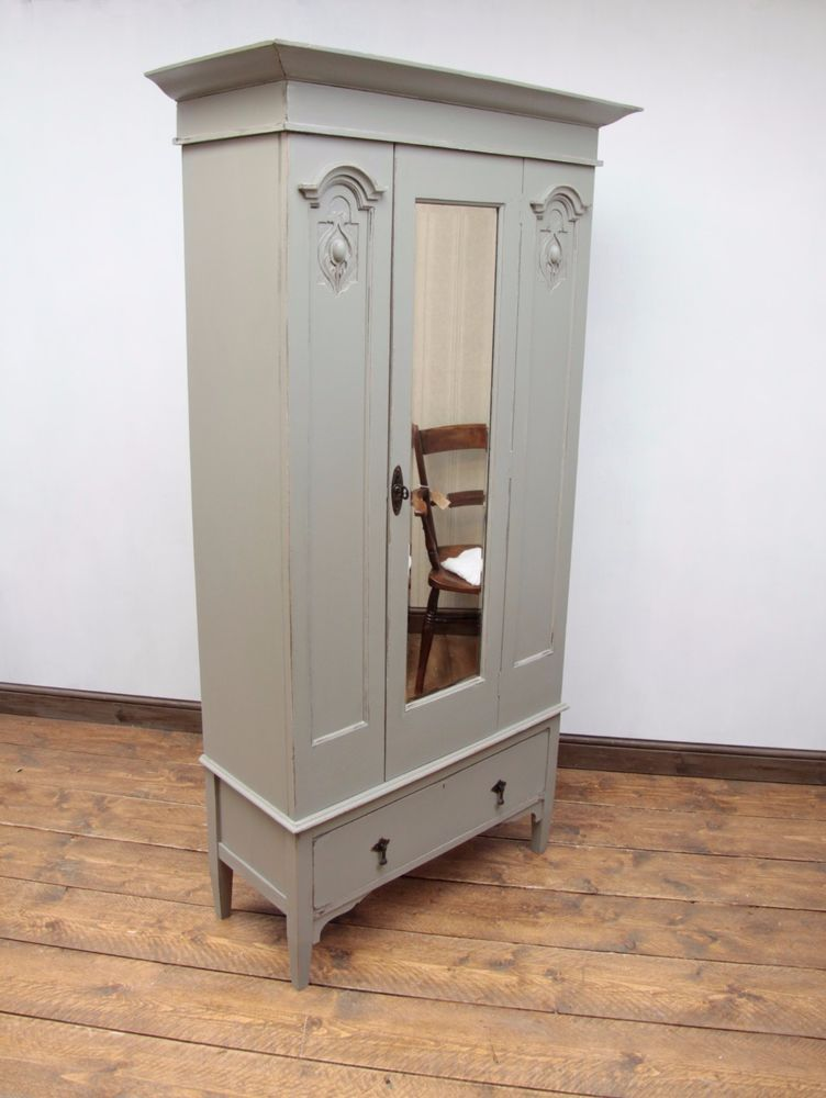 Antique Painted Oak Linen Press Cupboard Hall Wardrobe French Linen Shabby Chic Unbranded Artnouv Revamp Furniture Vintage Painted Furniture Wooden Cupboard