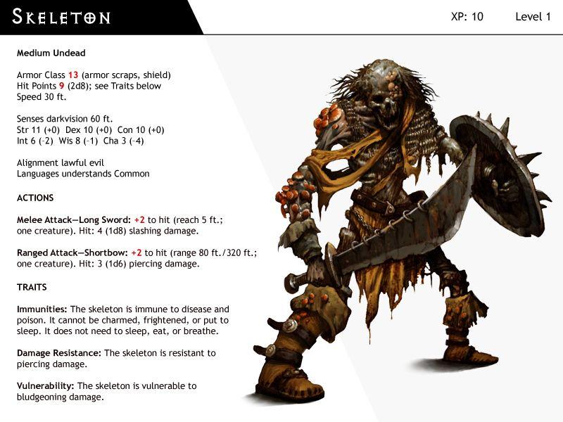 DnD-Next-Monster Cards-Skeleton by dizman deviantart com on