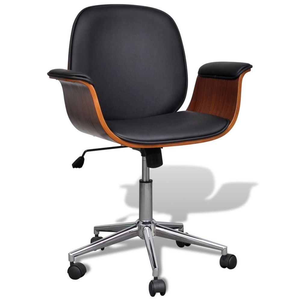 office computer chair adjustable swivel wood faux leather seat retro
