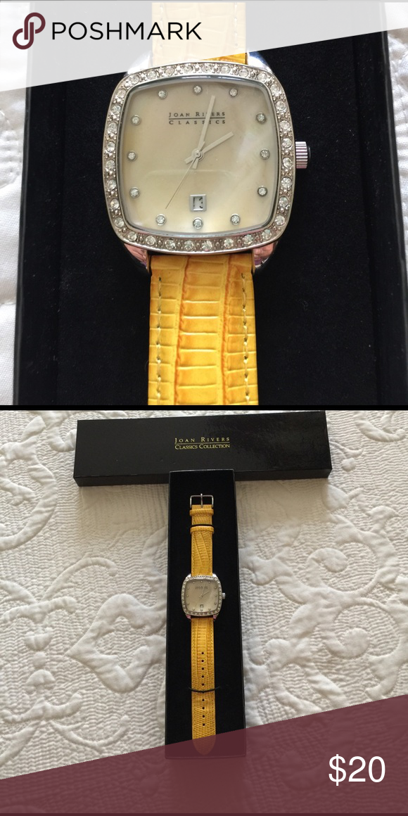Joan Rivers watch SALE-buy all 3 watches for $60!                  Crystals surround the square face. Yellow band. Needs battery. Excellent condition. joan rivers Accessories Watches