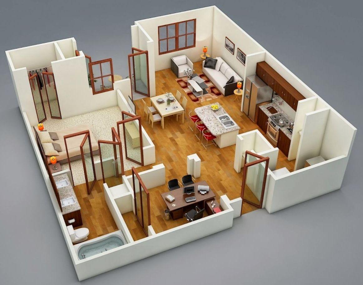 Planos de departamentos pequenos de mas de 50m2 medidas for Planos de departamentos de una habitacion