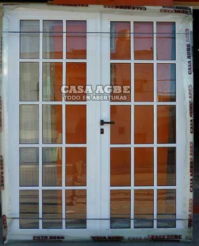 Puerta doble aluminio blanco vidrio repartido 160x200 for Puertas y ventanas de aluminio blanco precios