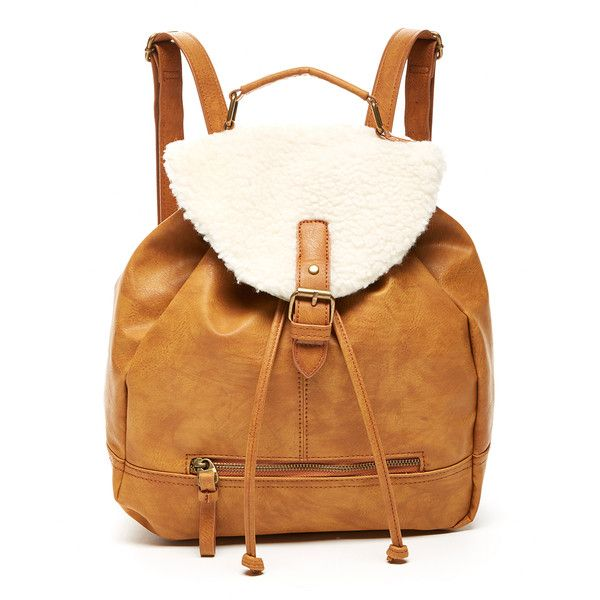T-Shirt & Jeans Camel Faux Shearling Crossbody Backpack ($25) ❤ liked on Polyvore featuring bags, backpacks, travel backpack, travel crossbody, camel backpack, cross body and drawstring crossbody bag