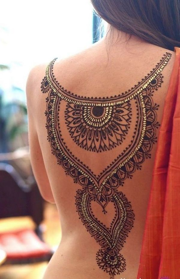3a5d3bc3f 100 Tastefully Provocative Back Tattoos for Women. Henna On Back, Henna  Tattoo Back,