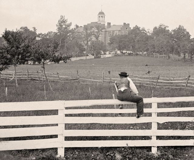 Lutheran Theological Seminary, Gettysburg, July 1863. Many seminary students enlisted to be part of an emergency militia. The seminary was used as a hospital during and after the battle.