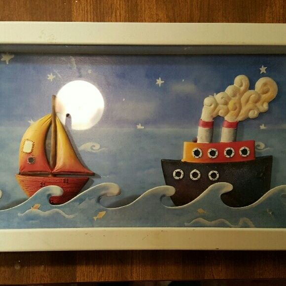 Wall pic perfect for little kids room This picture would be great in a child's room bathroom lake house many options. It stands out a couple of inches because it sits on the bottom and glass front. Really cute please contact me if you are interested in buying or trading  thank you Other