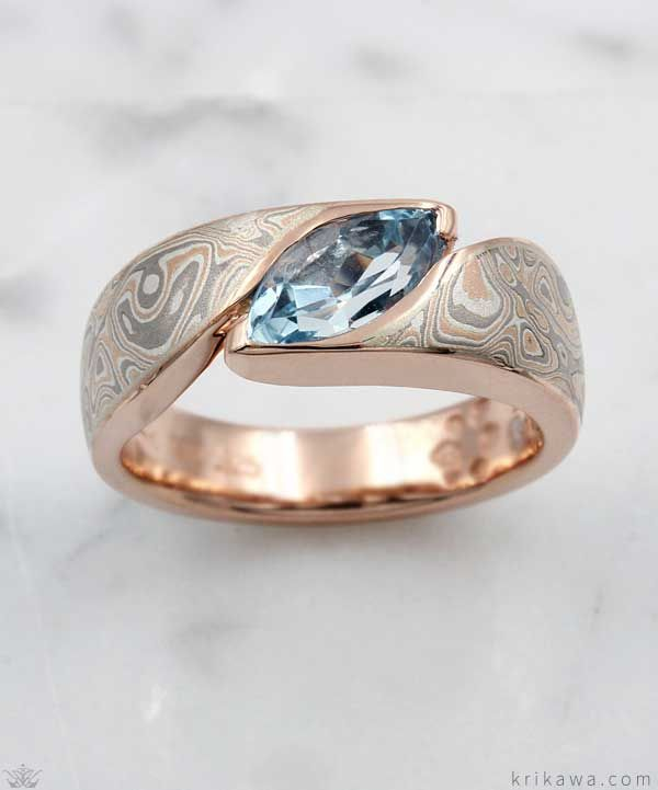 Photo of Mokume Wave engagement ring with marquise-cut aquamarine! Shown here in 14k …