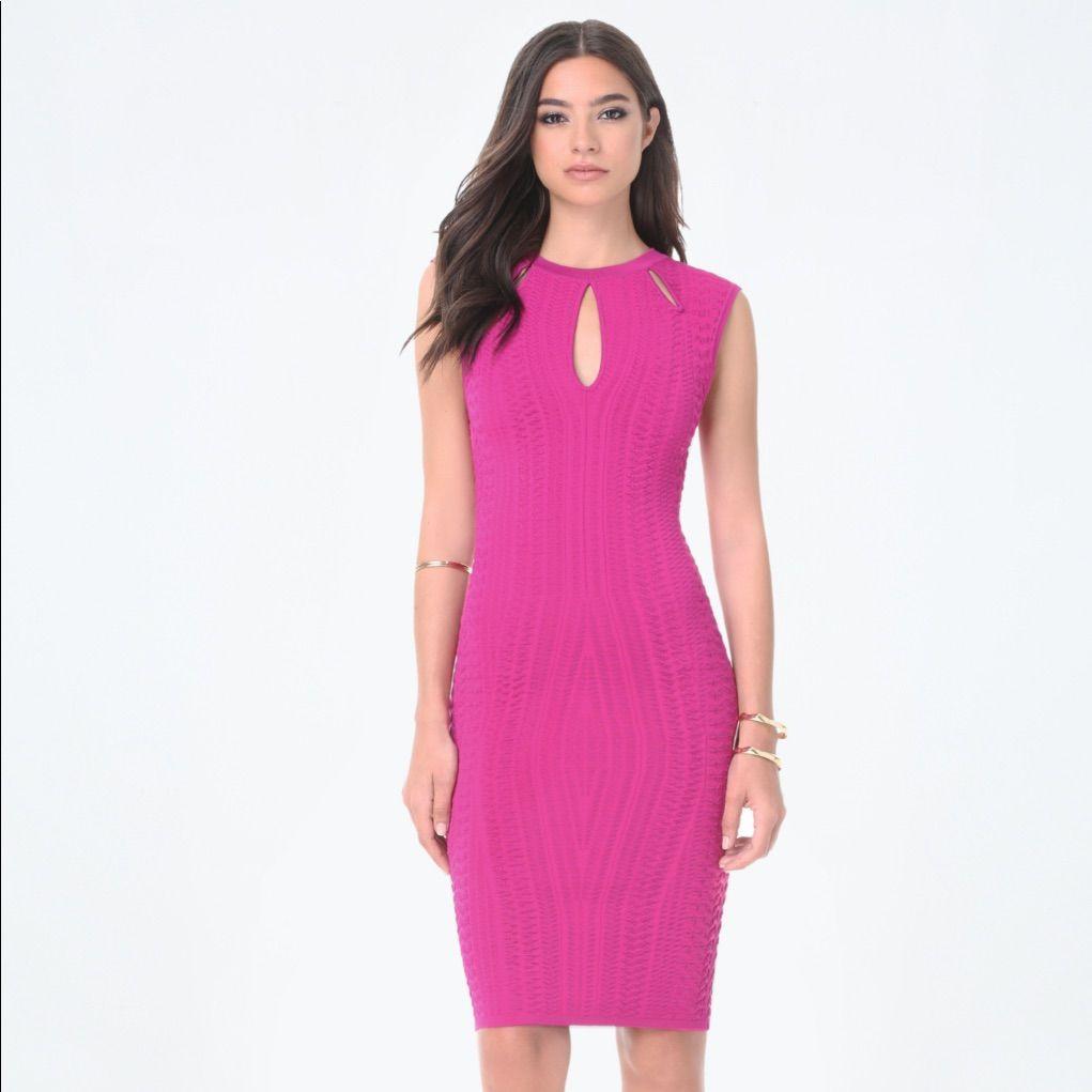 Stunning Bebe Donna Textured Keyhole Dress
