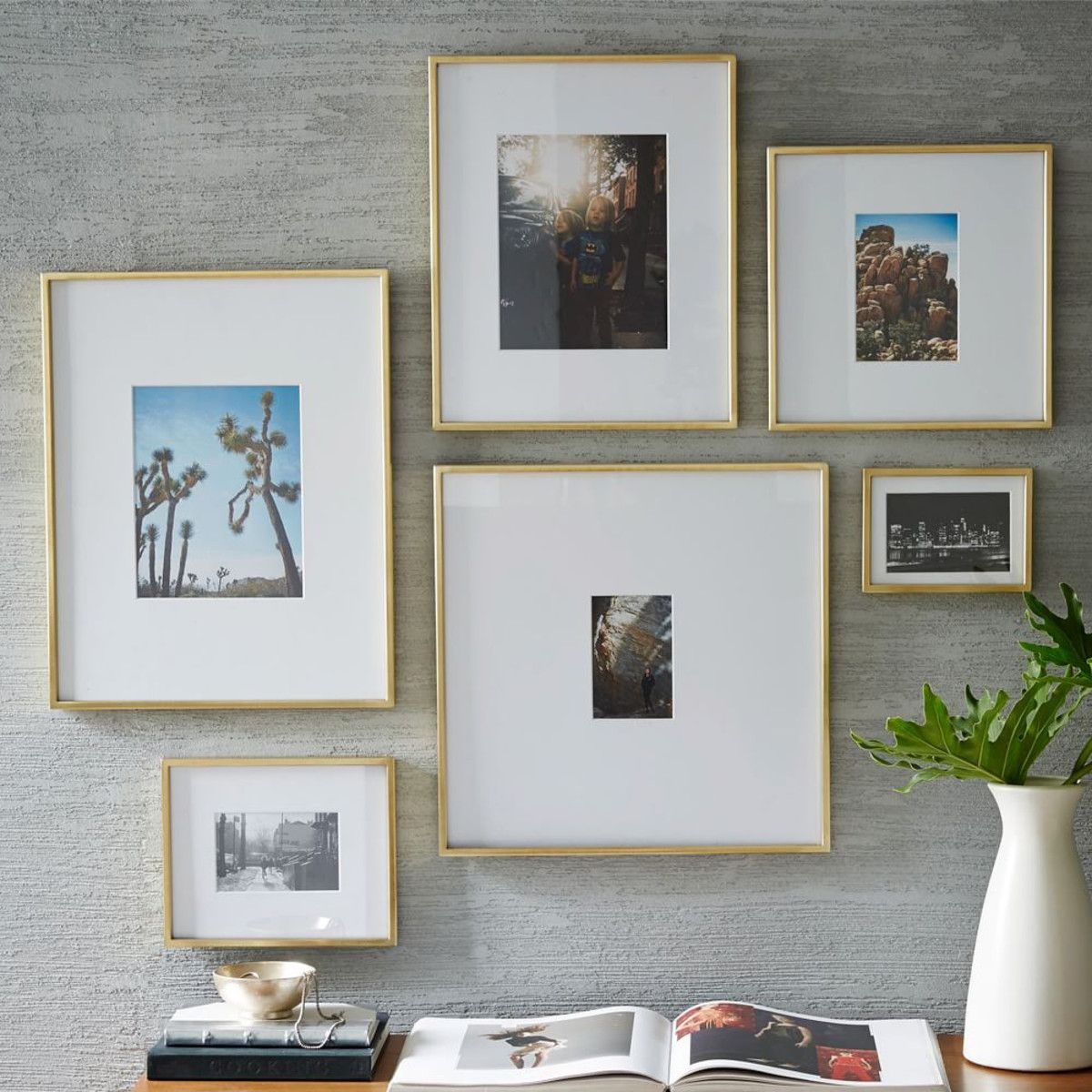 galleryframespolishedbrasswz  beauty is in the home  - gallery frames  polished brass grey walls and gold frames