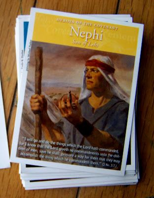 Scripture Heroes And Primary Heroes cards with a narrative on the back