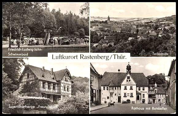 alte Postkarte - Schwimmbad , Jugendherberge & Rathaus , Rastenberg