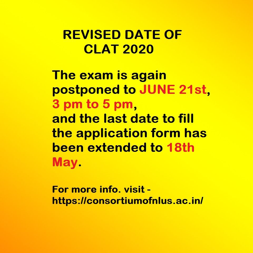 Clat 2020 Revised Exam Date In 2020 Exam Dating Last Date