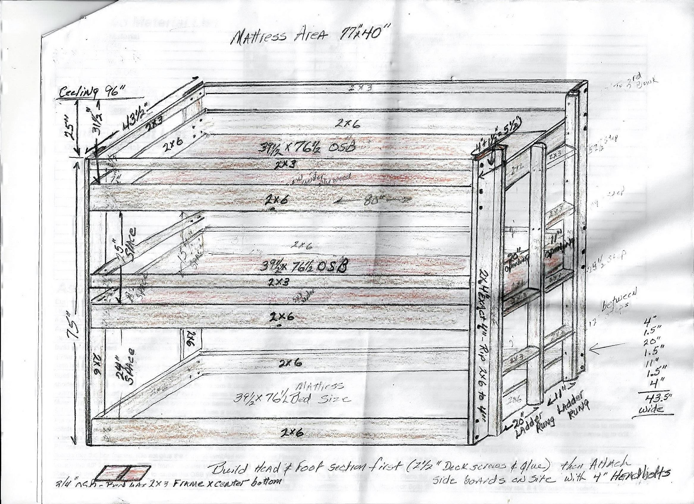 This Is A Drawing With The Dimensions For The Assembly Of The Triple Bunk Bed Bunk Beds Triple Bunk Beds Kid Beds