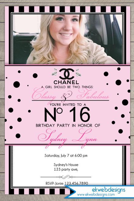 Coco Chanel Sweet Sixteen Birthday Invitation Personalized