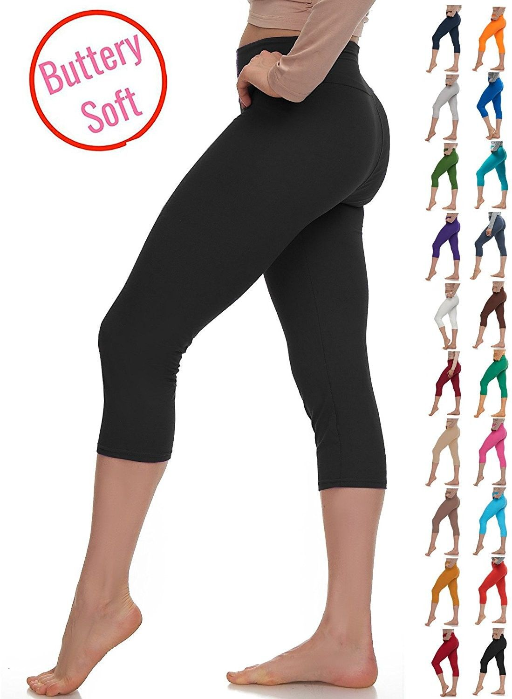 f10b9eaebfd Extra Soft Capri Leggings With High Yoga wast - 20+ Best Selling Colors -  Plus - Black Yoga Waist - CS17XWGR0LA