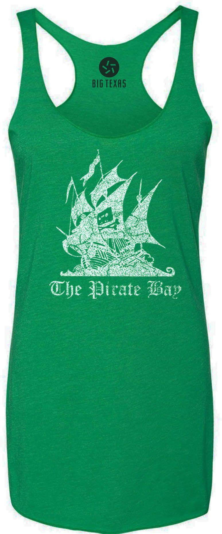 The Pirate Bay Distressed (White) Tri-Blend Racerback Tank-Top