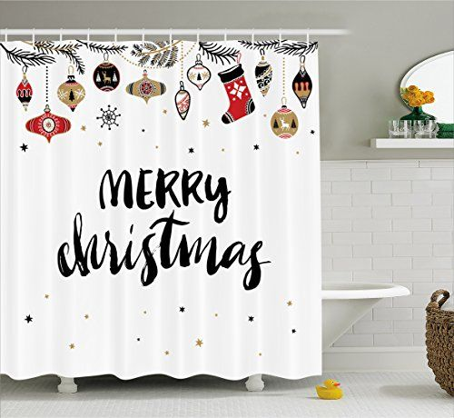 Christmas Shower Curtain By Ambesonne Merry Xmas Quote With Modern