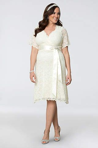 840fd0d7a8c Lace Confections Plus Size Short Wedding Dress - Scalloped lace and a  crystal- and pearl-encrusted satin
