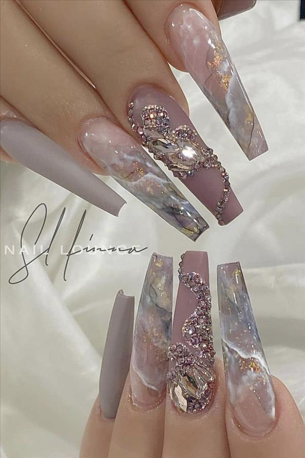 Natural acrylic rhinestone coffin nails design you