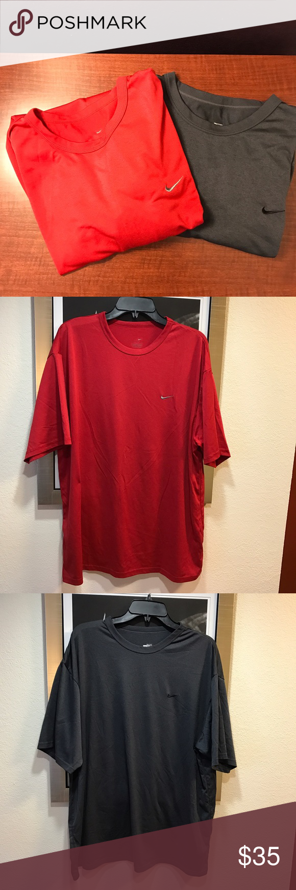 Men's Nike Dri Fit Tee Shirts Lot of two gently worn Dri Fit Tees. Men's XXL Nike Shirts Tees - Short Sleeve