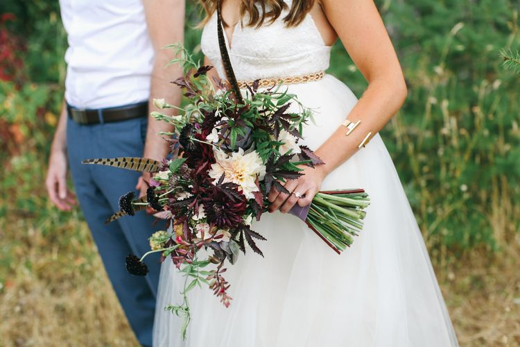 Boho Bridal Bouquet In Blush And Marsala Photo Credit Love Lit Wedding Photography
