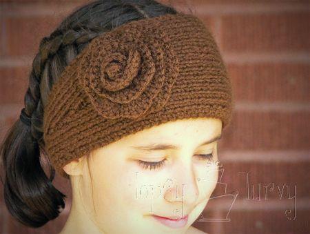 yarn-knit-ear-warmer-headband-flower-crochet | Knitting | Pinterest ...
