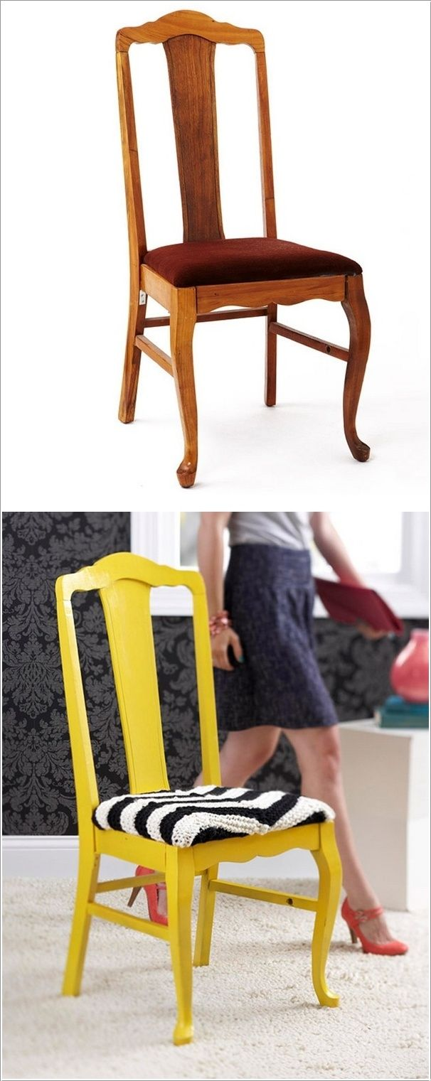 DIY - Give a Facelift to a Chair Using Bright Paint and Contrasting Fabric