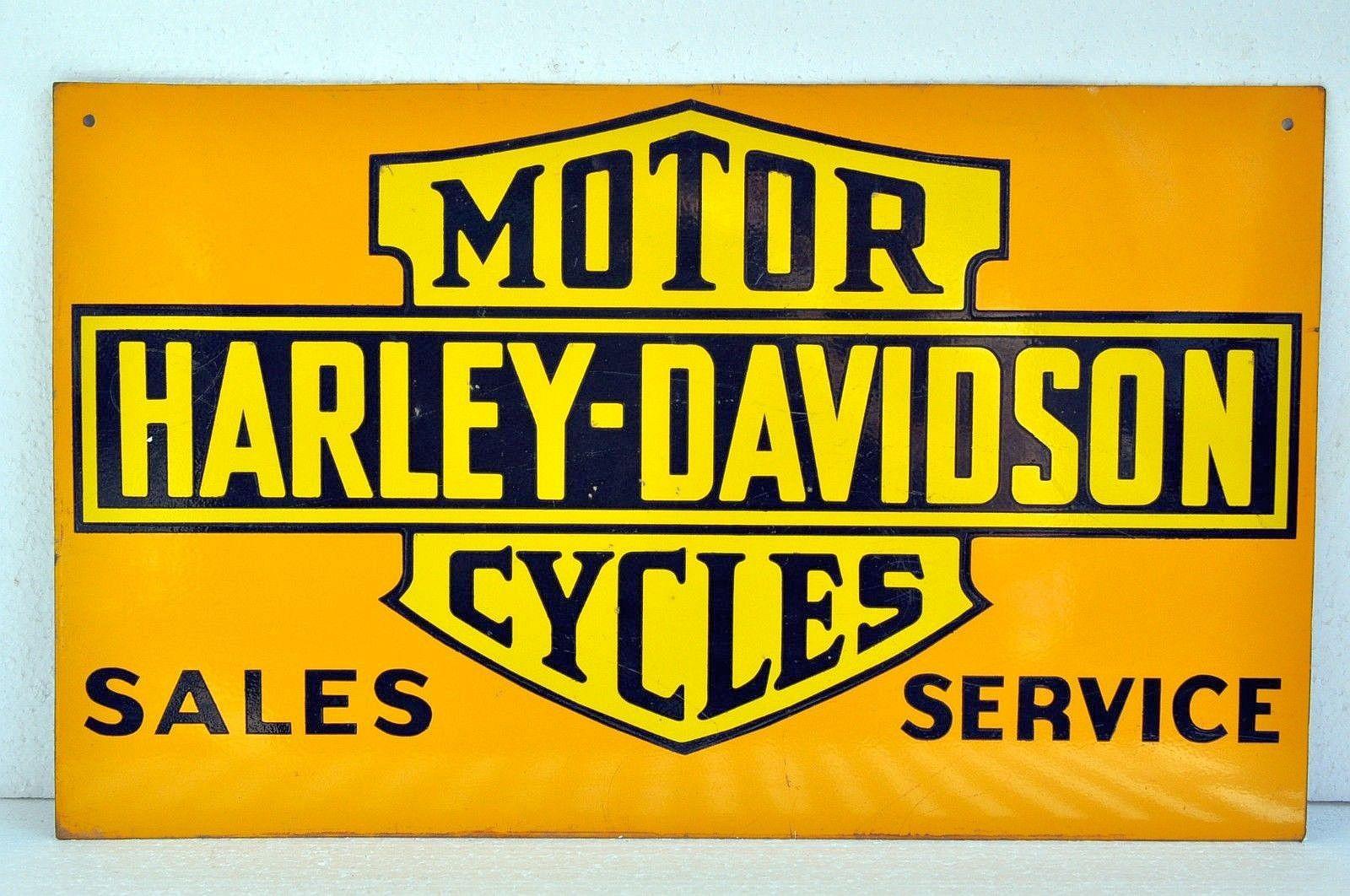 Harley Davidson Vintage Porcelain Sign Old 1920 Antique Motorcycle Dealer Advertising Harley Davidson Harley Motor Harley Davidson Cycles