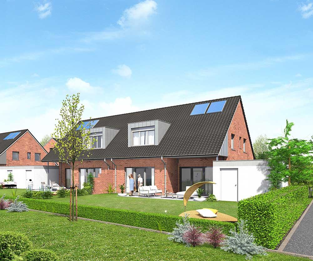 Neubau von 42 Einfamilienhäusern im Neubauprojekt