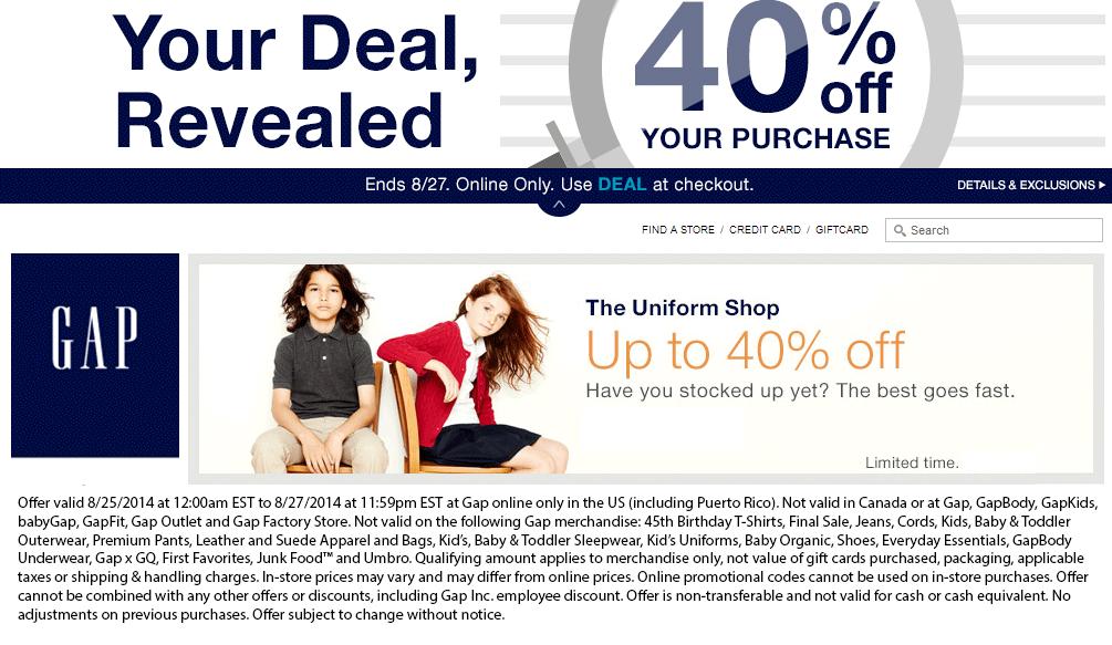 Gap Coupons 40 Off Online At Gap Via Promo Code Deal Deals Free Printable Coupons Printable Coupons Coupons