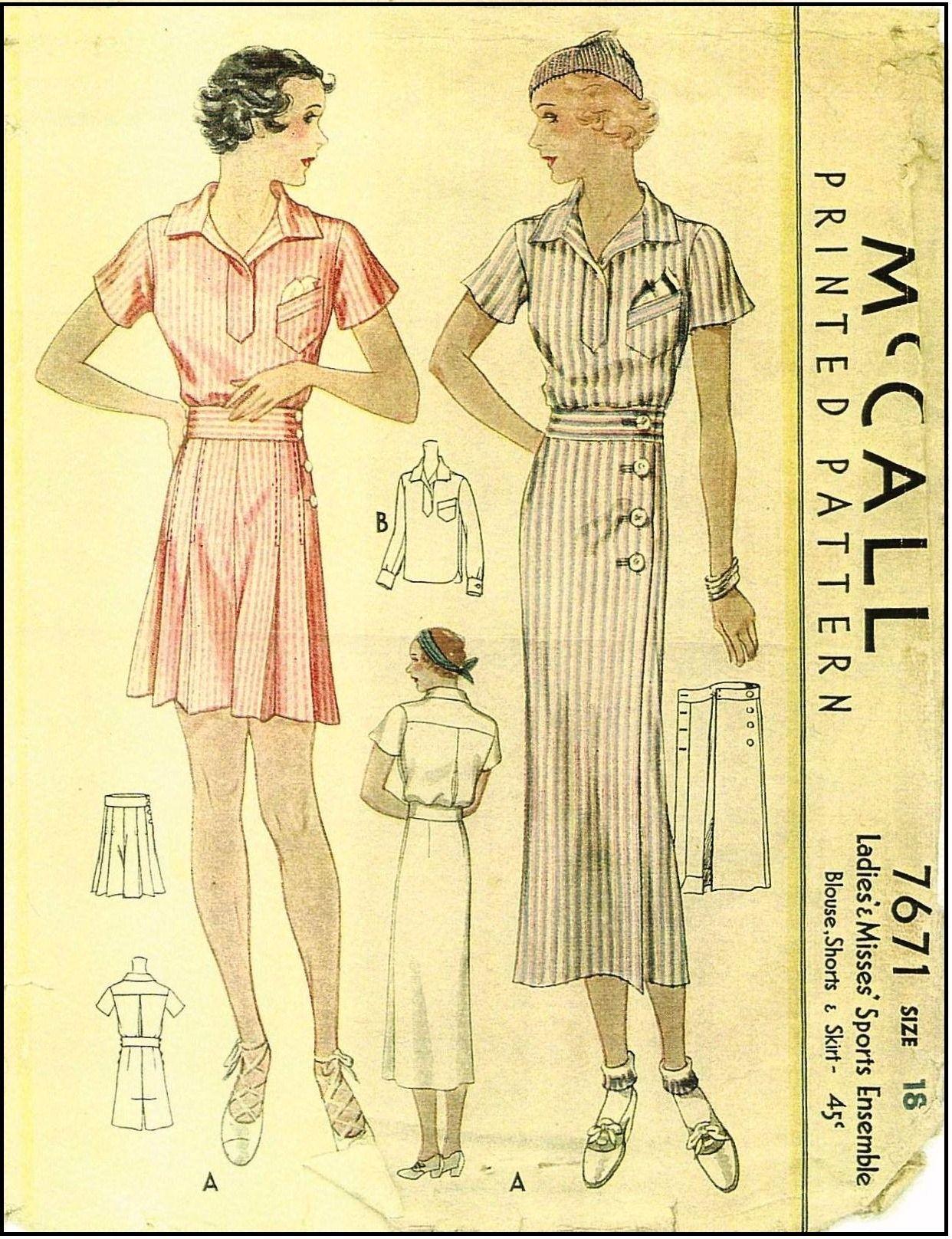 McCall #7671 - 1930s Ladies Sports Ensemble - Sewing Pattern -